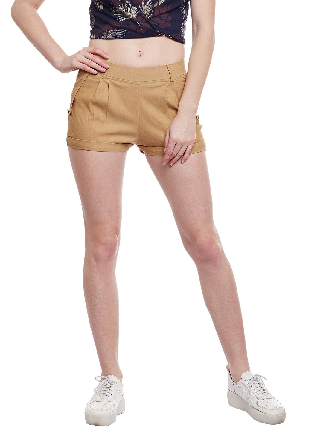 Castle Fawn Flap with Button Cotton Spandex Shorts