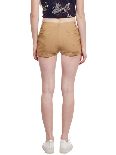 Castle Fawn Flap with Button Cotton Spandex Shorts - Castle Lifestyle