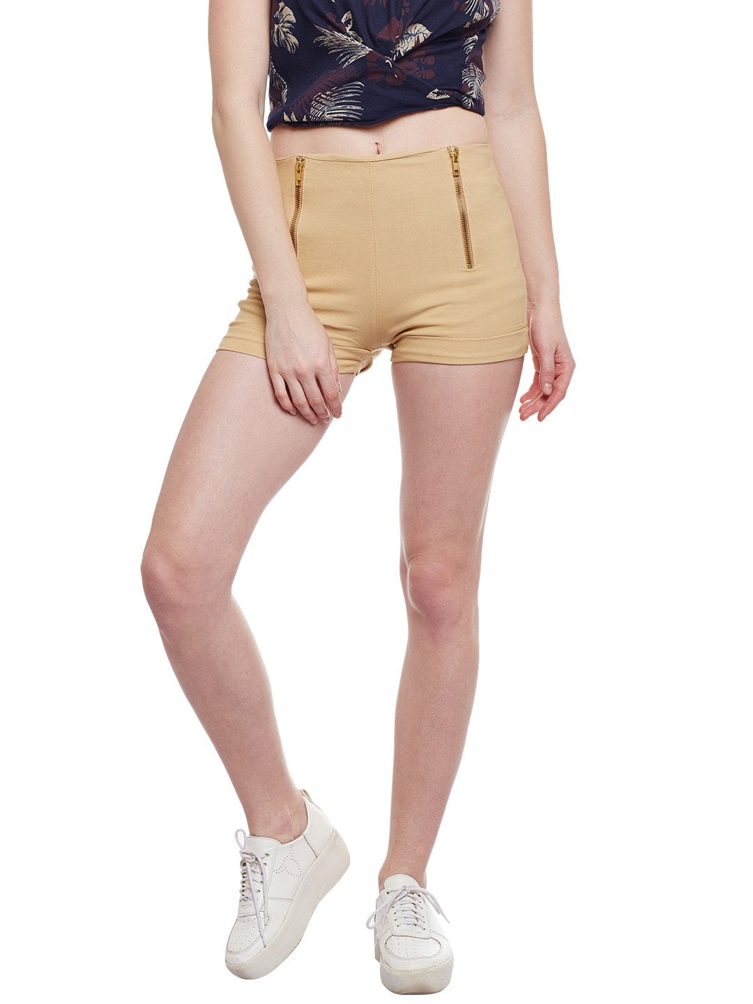 Castle Fawn Double Zip Cotton Spandex Shorts