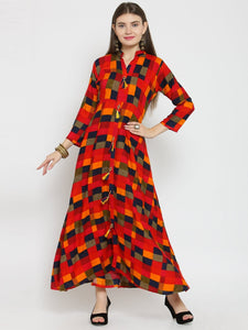 Castle Red Checked Printed Maxi Dress