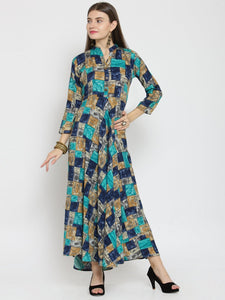 Castle Multicloured Checked Print Maxi Dress