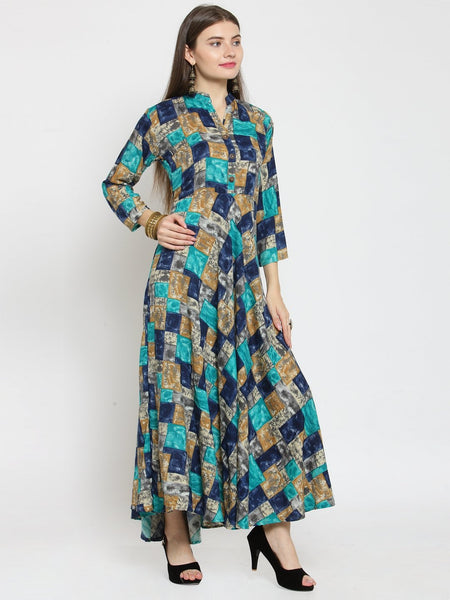 Castle Multicloured Checked Print Maxi Dress  - Castle Lifestyle
