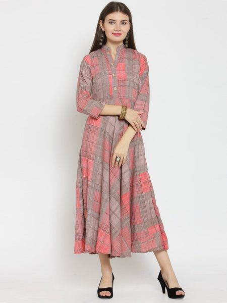 Castle Baby Pink Checked Print Maxi Dress