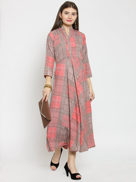 Castle Baby Pink Checked Print Maxi Dress - Castle Lifestyle