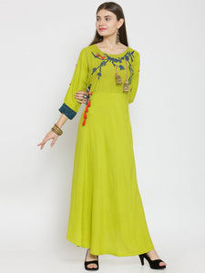 Castle Light Mehandi Off-Shoulder Rayon Maxi Dress