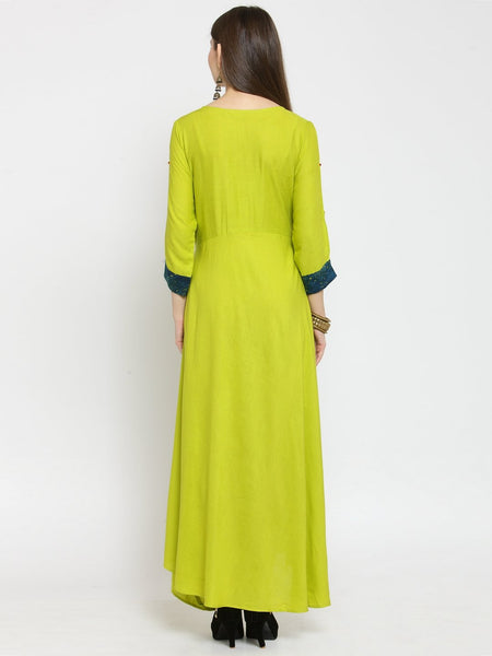 Castle Light Mehandi Off-Shoulder Rayon Maxi Dress - Castle Lifestyle