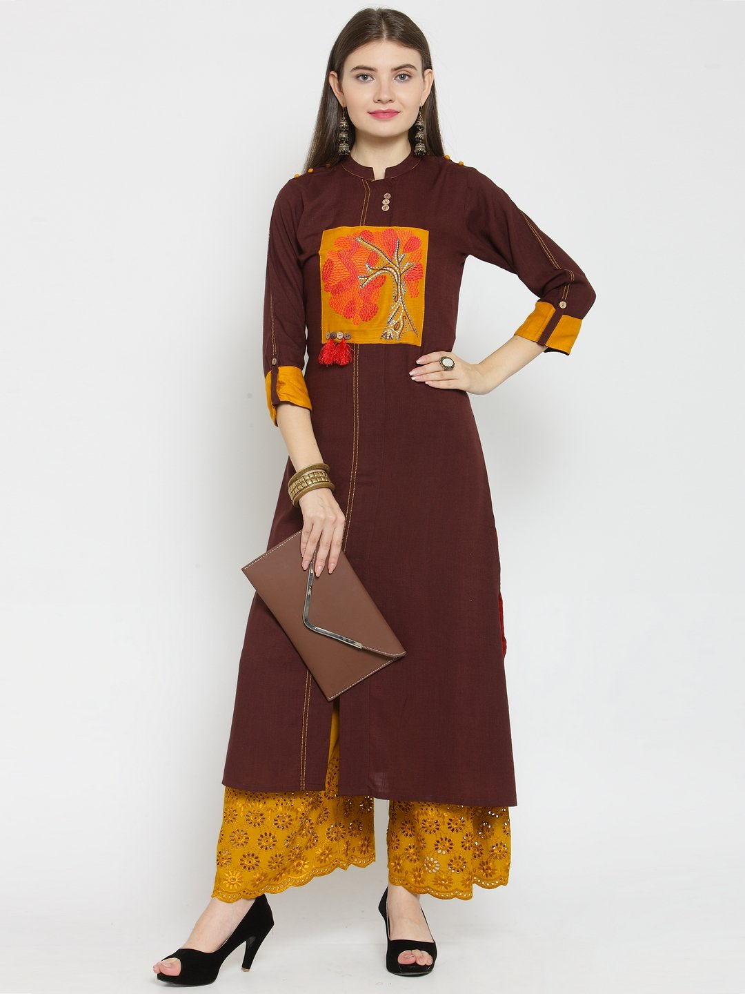 Castle Brown Front Embroidered Rayon Kurta