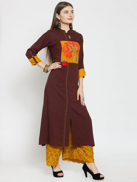 Castle Brown Front Embroidered Rayon Kurta - Castle Lifestyle