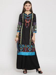 Castle Black Printed Rayon Kurta