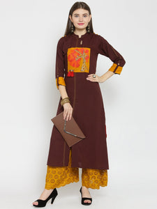 Castle Brown Front Embroidered Rayon Kurta with Mustard Chikankari Palazzo