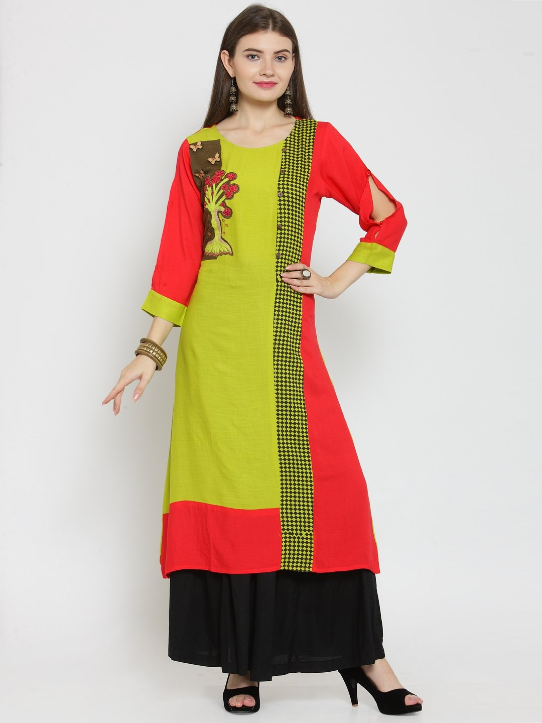 Castle Fluorescent Embellished Rayon Kurta with Black Rayon Sharara