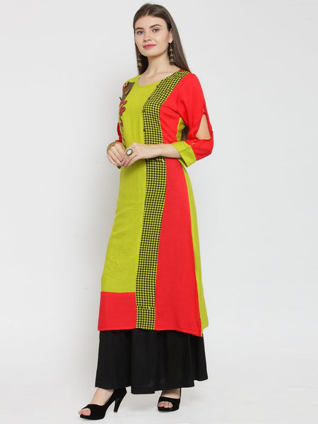 Castle Fluorescent Embellished Rayon Kurta with Black Rayon Sharara - Castle Lifestyle
