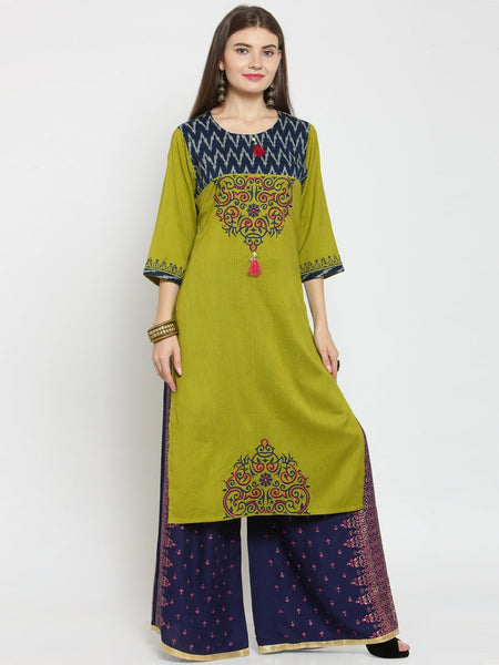 Castle Mehandi Printed Rayon Kurta with Navy Blue Printed Palazzo