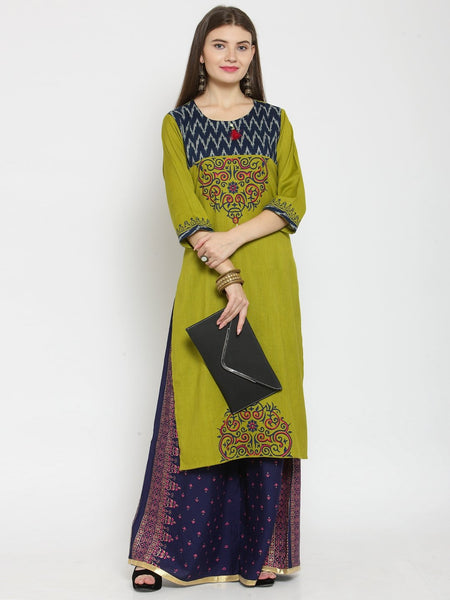 Castle Mehandi Printed Rayon Kurta with Navy Blue Printed Palazzo - Castle Lifestyle