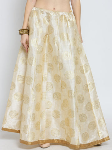 Castle Light Beige Printed Raw Silk Long Skirt
