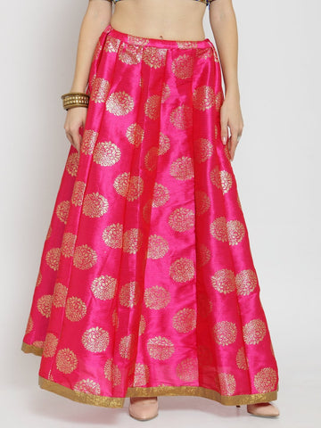Castle Magenta Printed Raw Silk Long Skirt