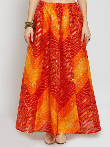 Castle Yellow Bandhani Print Flared Skirt
