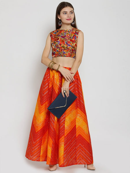 Castle Yellow Bandhani Print Flared Skirt - Castle Lifestyle
