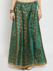 Castle Green Brocade Maxi Skirt