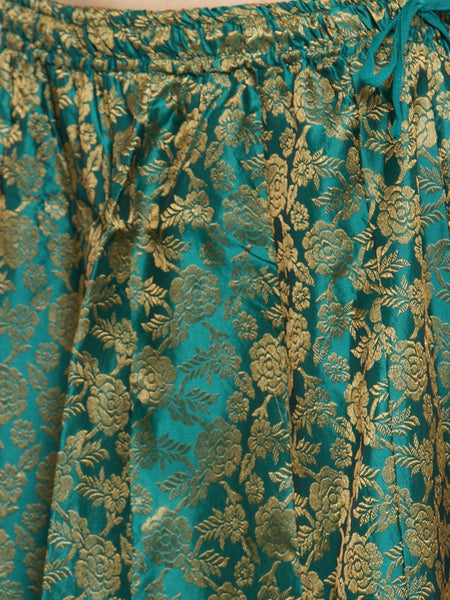 Castle Green Brocade Maxi Skirt - Castle Lifestyle