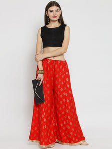Castle Red Printed Rayon Sharara - Castle Lifestyle