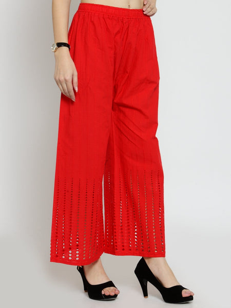 Castle Red Cotton Chikankari Palazzo - Castle Lifestyle