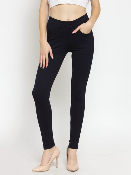Castle Navy Blue Solid Pontee Jeggings