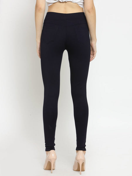 Castle Navy Blue Solid Pontee Jeggings - Castle Lifestyle