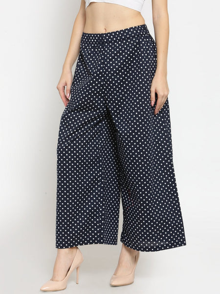 Castle Navy Blue Polka Dot Print Palazzo - Castle Lifestyle