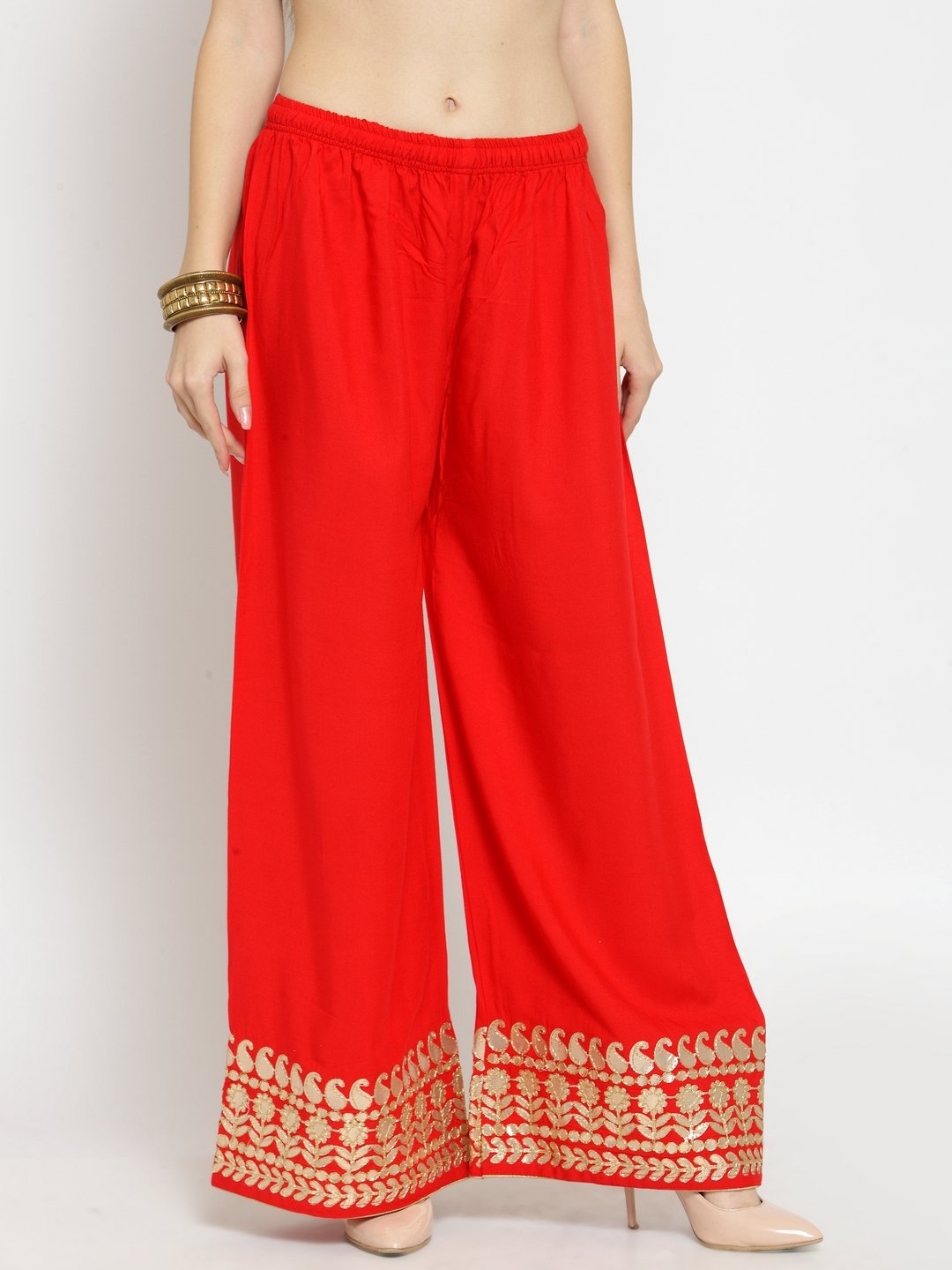 Castle Red Lace Rayon Palazzo
