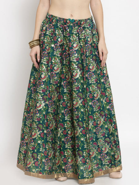 Castle Green Printed Raw Silk Long Skirt