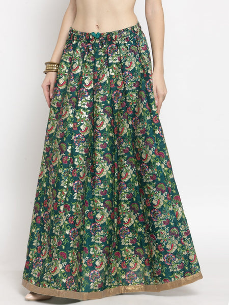 Castle Green Printed Raw Silk Long Skirt - Castle LIfestyle
