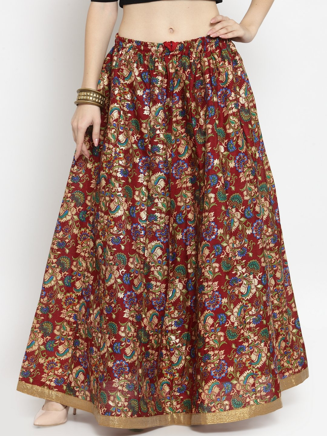 Castle Maroon Printed Raw Silk Long Skirt
