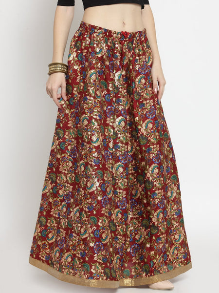 Castle Maroon Printed Raw Silk Long Skirt - Castle Lifestyle