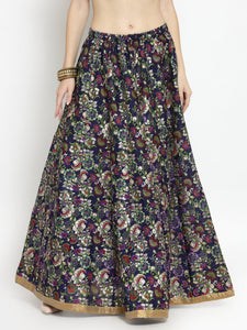 Castle Purple Printed Raw Silk Long Skirt