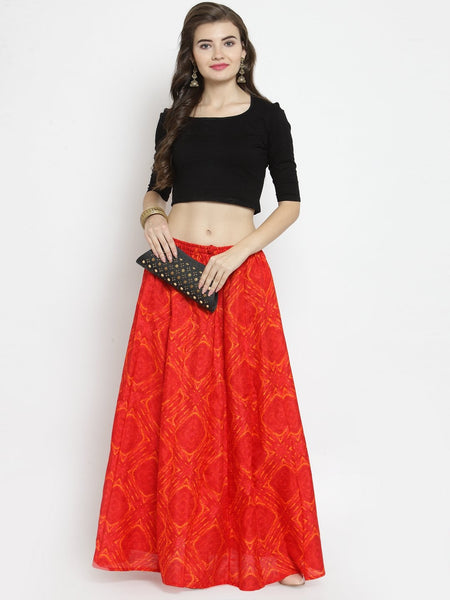 Castle Red Tie & Dye Flared Skirt - Castle Lifestyle