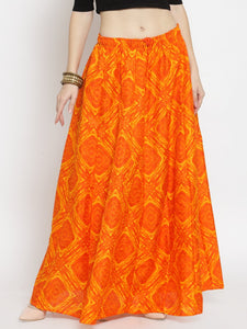 Castle Orange Tie & Dye Flared Skirt
