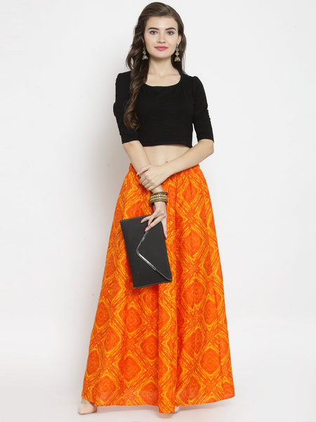 Castle Orange Tie & Dye Flared Skirt - Castle Lifestyle