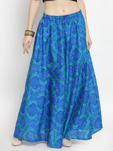 Castle Royal Blue Printed Flared Maxi Skirt