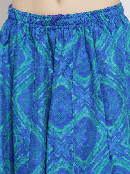 Castle Royal Blue Printed Flared Maxi Skirt - Castle Lifestyle