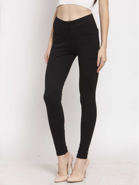 Castle Black Solid Pontee Jeggings - Castle Lifestyle