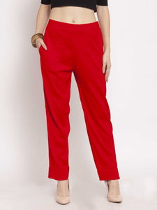 Castle Red Solid Woolen Pencil Pant