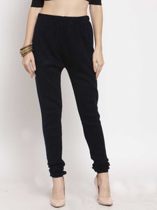 Castle Navy Blue Solid Woolen Legging