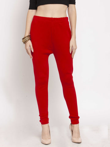 Castle Red Solid Woolen Legging