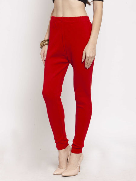 Castle Red Solid Woolen Legging - Castle Lifestyle