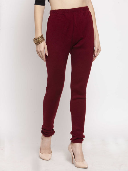 Castle Maroon Solid Woolen Legging - Castle Lifestyle