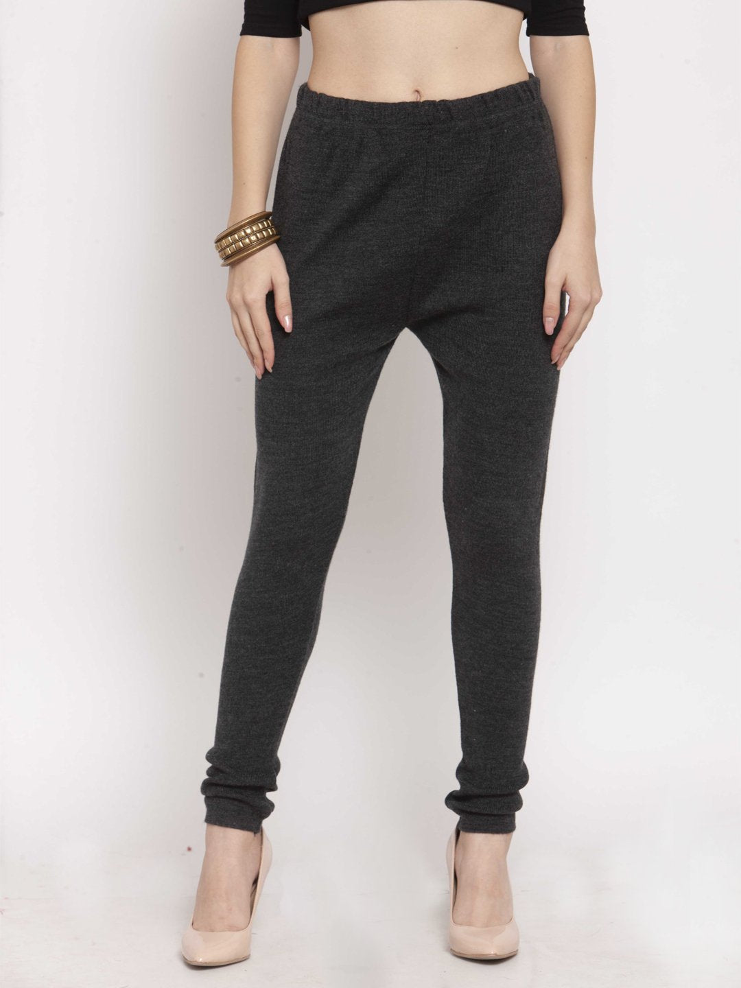 Castle Dark Melange Solid Woolen Legging