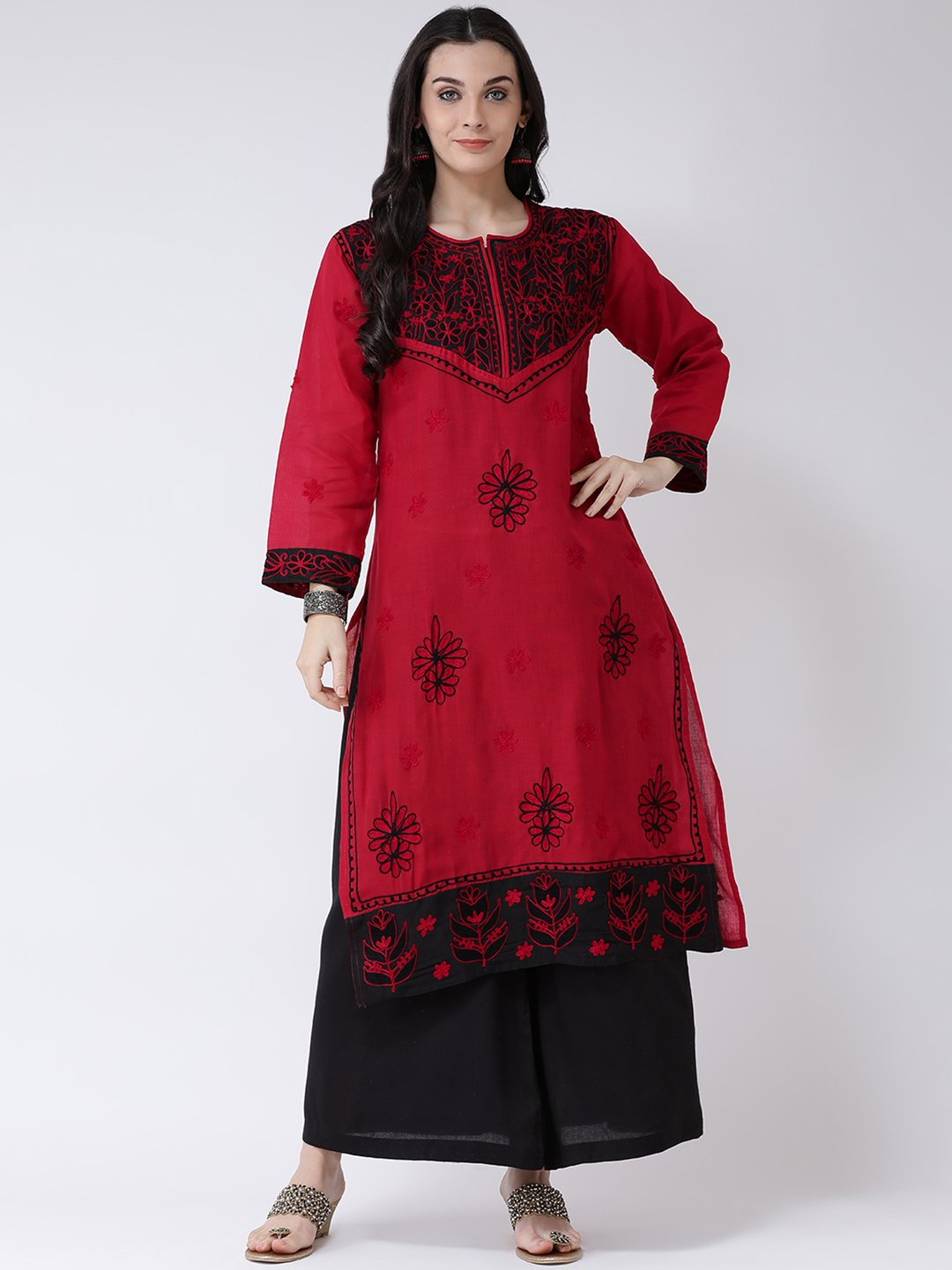 Castle Red Cotton Chikankari Kurta