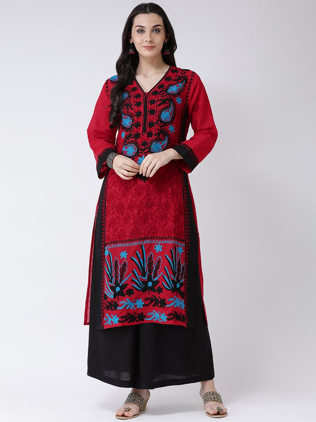 Castle Red & Black Cotton Chikankari Kurta