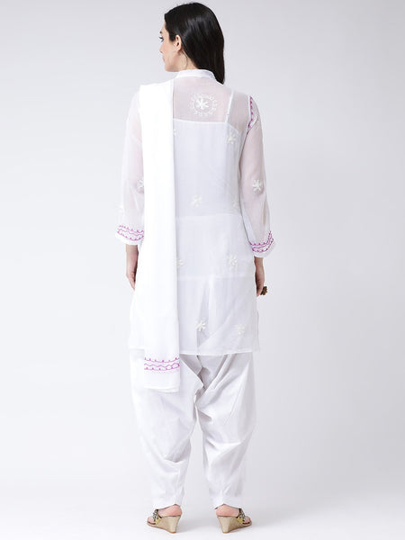 Castle White Georgette Chikankari Kurta With Salwar Dupatta Set